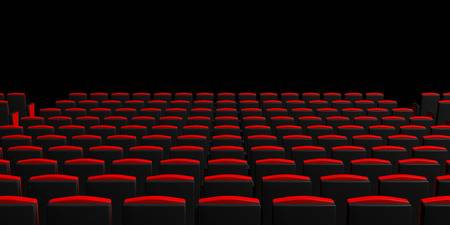Red Theater Chairs On Dark Background, View From Behind, Copyspace .