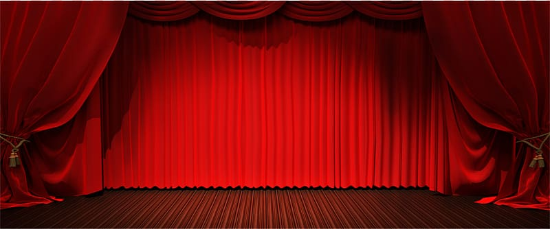 Red satin stage curtains , Theater drapes and stage curtains Light .