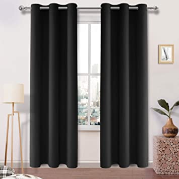 Amazon.com: DWCN Black Thick Blackout Curtains Room Darkening .