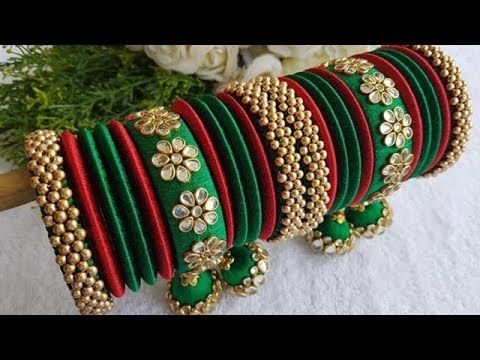 Latest Silk Thread Bangles Set Designs - YouTube | Thread bangles .