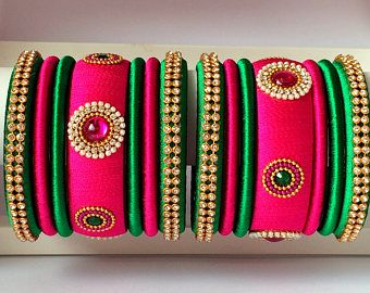 Silk Thread Bangles Set of 14 - Pink & Green Color | Thread .