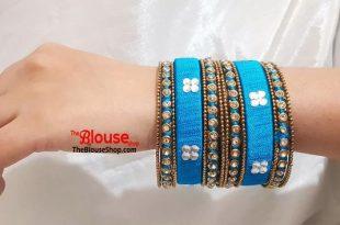 Indian Bangles Silk Thread Bangles Bangle Set Turquoise Gold   Et