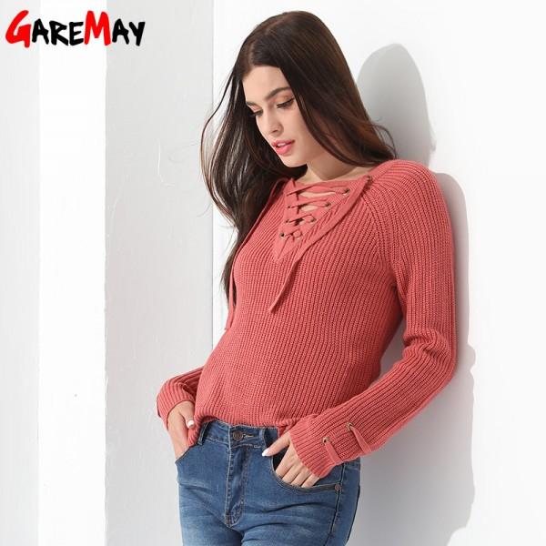 Buy Sweater Women Pullover Slim Long Sleeve Knitted jumper Femme .