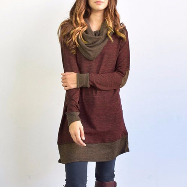 Women Oversized Shirt Long Sleeve Patchwork Tops Ladies Cowl Neck .