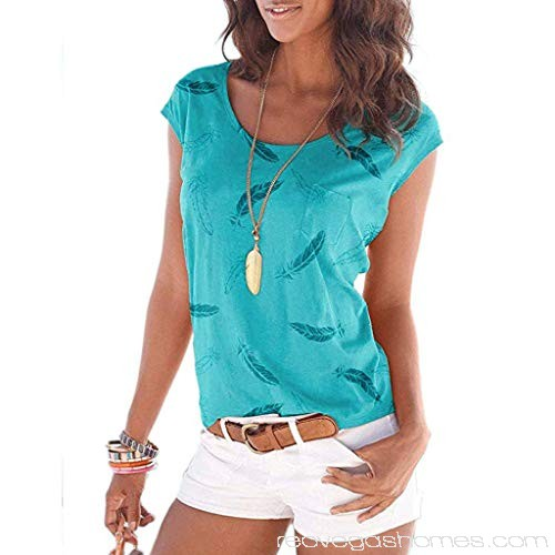 Summer Tops for Women Feather Print Casual Round Neck Cute Tunic T .