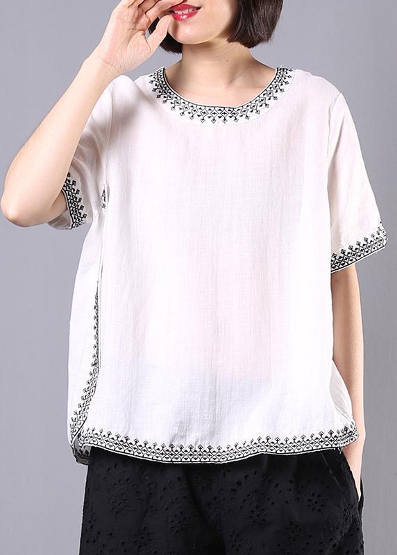 Italian white linen tops women design embroidery summer blouses .