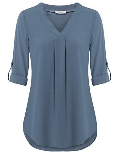 Youtalia Women Tops and Blouses, Ladies Loose Solid Chiffon Blouse .