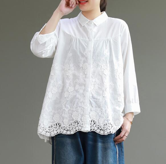 Lace Women Cotton Tops Women Blouse Long Sleeves Loose Style .