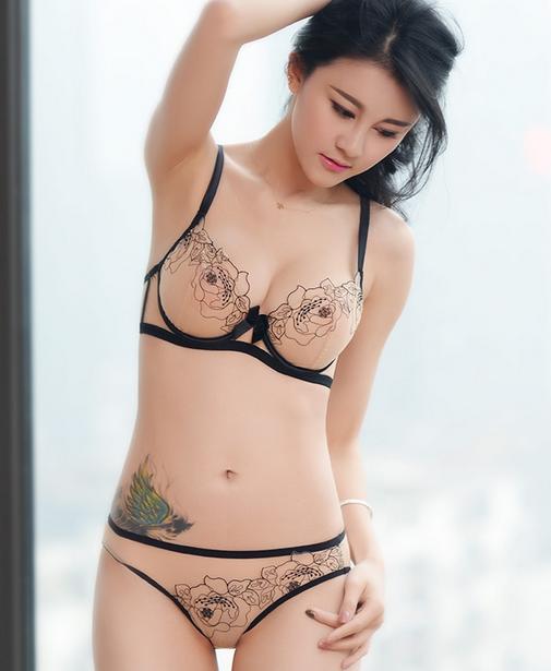 Sexy semi-transparent bra and panty s