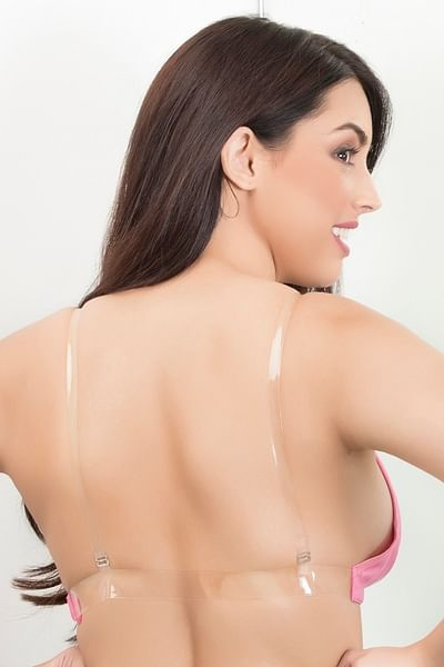 Buy Cotton Bra with Transparent Straps & Back - Pink Online India .