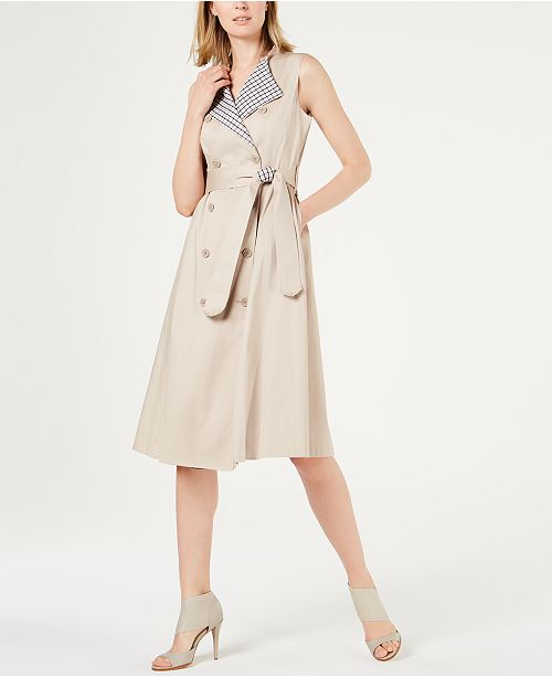Calvin Klein Sleeveless Trench Coat Dress & Reviews - Dresses .