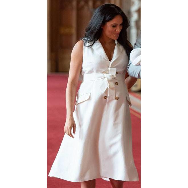 Wales Bonner White Trench Dress - Meghan Markle Dresses - Meghan's .