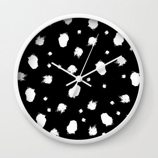 Modern trendy black white brush strokes Wall Clock by girlytrend .