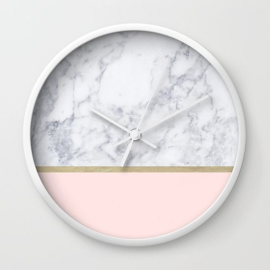 Marble Gold Blush Pink Pattern Wall Clock . Find it on @society6 .