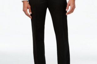 Alfani Men Black Fit Flat Front Suit Dress Slacks Trousers Pants .