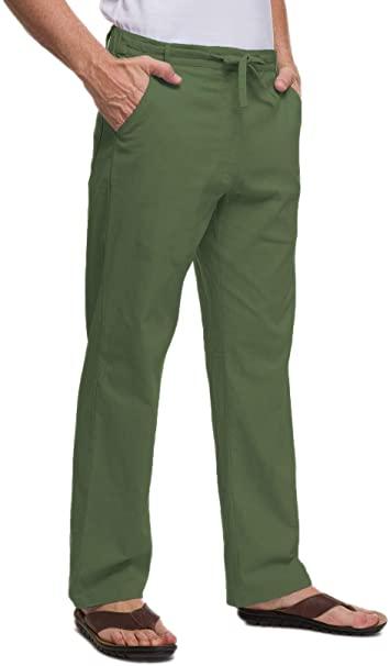 Amazon.com: Janmid Men Casual Beach Trousers Linen Summer Pants .