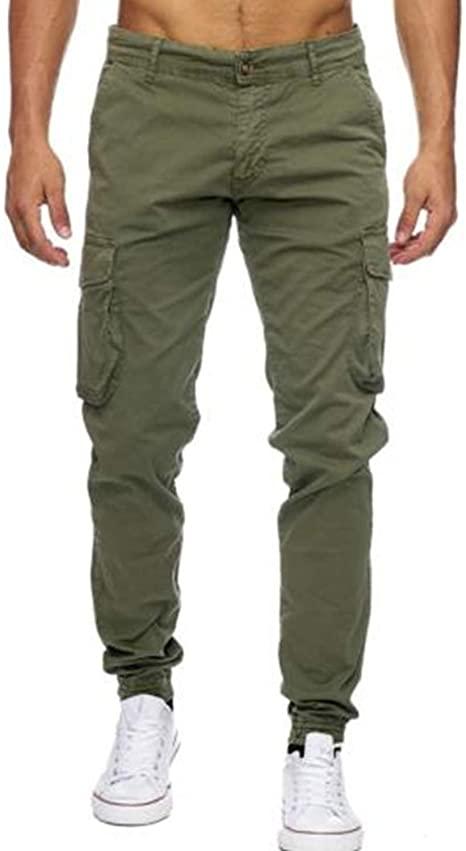 Voncheer Mens Slim Fit Skinny Work Combat Trousers Cargo Pants .