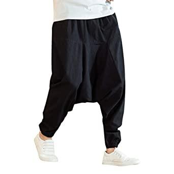 Amazon.com: Men's Baggy Harem Pants - Men Cotton Wide Leg Yoga .