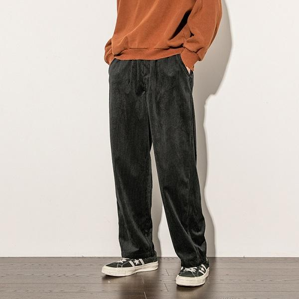 Corduroy pants men casual loose staight trousers mens joggers .
