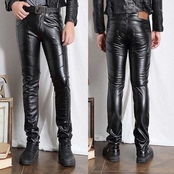 Mens Faux Leather Pants PU Material Black Slim Fit Motorcycle .