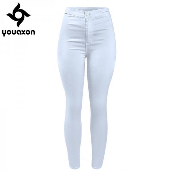 Youaxon Women High Waist Classic White Denim Jeans Stretch Skinny .