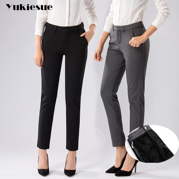 Plus Size Formal Pants for Women Office Lady 2017 winter fleece .