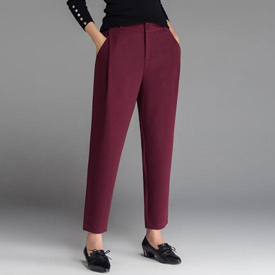 China Custom Women Fashion Wool Fabric Fashion Women′s Pants .