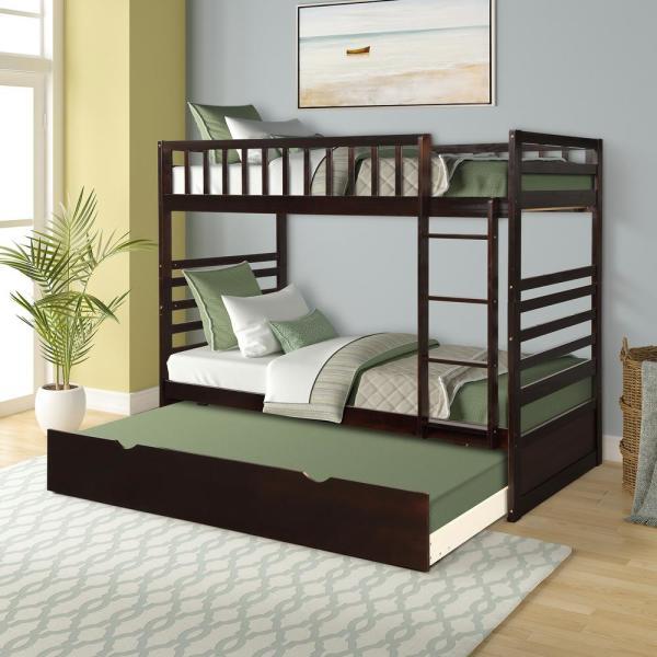 Harper & Bright Designs Espresso Twin Bunk Bed Over with Trundle .