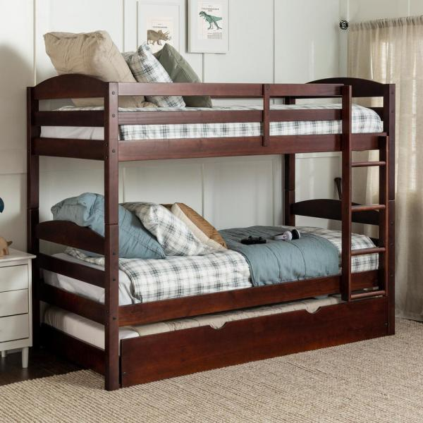 Welwick Designs Solid Wood Twin over Twin Bunk Bed + Storage .