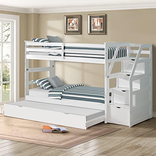 Amazon.com: Harper&Bright Designs Twin-Over-Twin Trundle Bunk Bed .