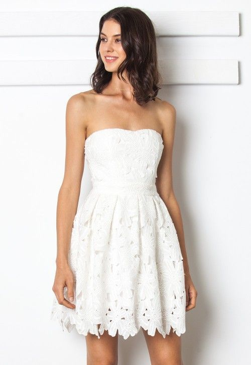 White Floral Lace Tube Dress #EventCentral #EventPlanning .