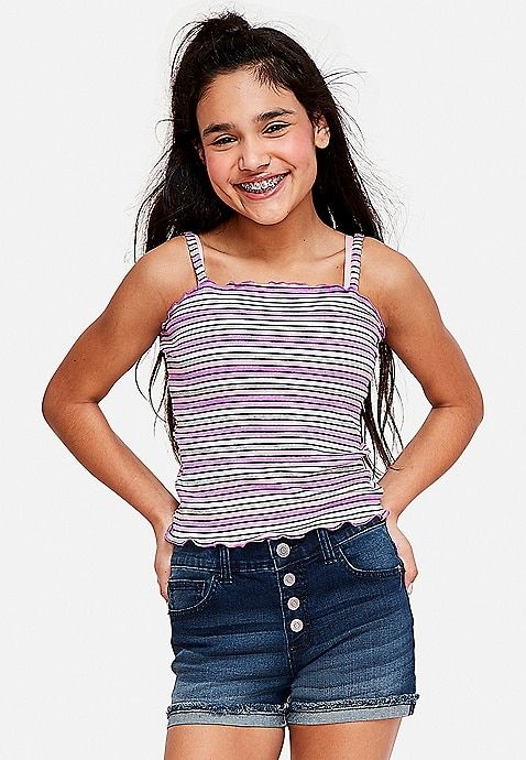 Fluted Hem Tube Top | Justice | Girls tshirts, Tube t