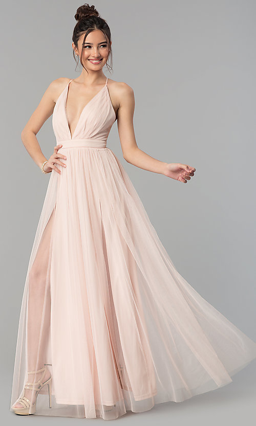 Long Tulle Prom Dress with Low V-Neck - PromGi