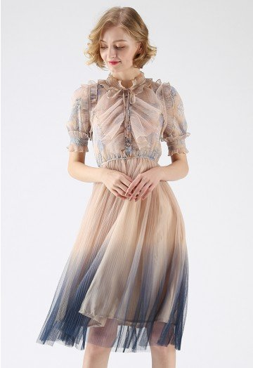 We Know It All Gradient Pleated Mesh Tulle Dress - Retro, Indie .