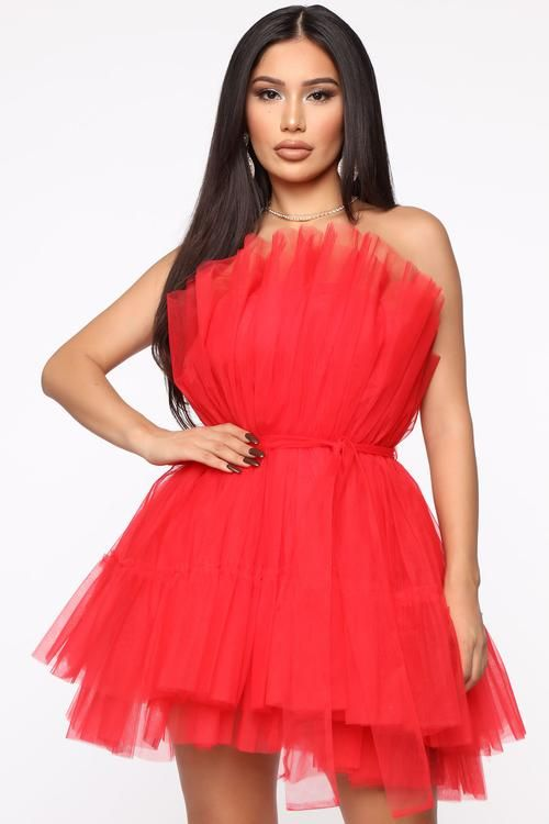 Exclusive Tulle Mini Dress - Red (With images) | Mini dress, Red .