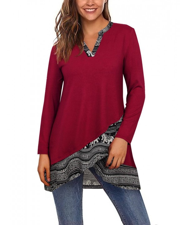Printed Tunic Tops Long Sleeve Notch Neck A Line Casual Layered .