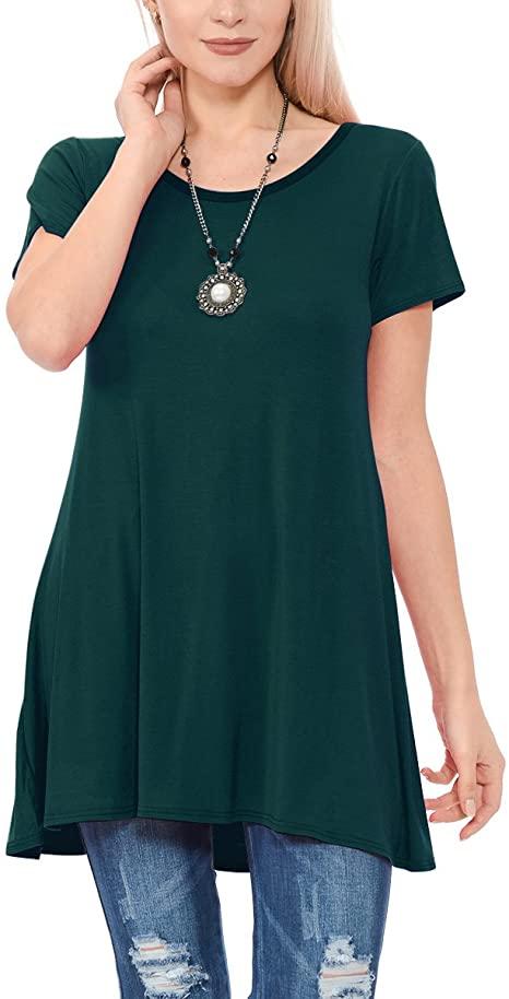 TOPONSKY Women's Flow Tunic Shirts Short Sleeve Scoop Neck Loose .
