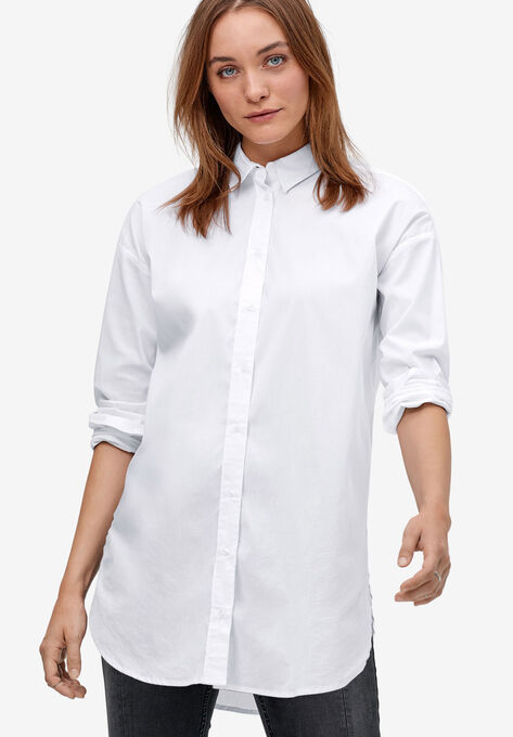 Relaxed Button Front Tunic Shirt by ellos®| Plus Size Tunics | Ell