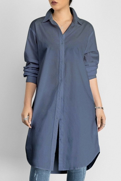 Chic Simple Plain Lapel Long Sleeve Buttons Down Tunic Shirt .