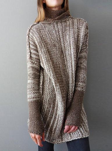 Women's Oversized Tunic Sweater - Contrasting Trim / Bro
