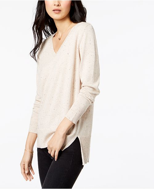 Maison Jules Cotton V-Neck Tunic Sweater, Created for Macy's .