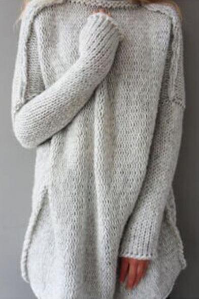 Fashion Women's Oversized Plain High Neck Long Sleeve Tunic .