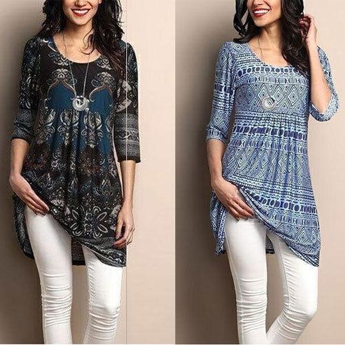 Women's Loose Long Sleeve Cotton Casual T Shirt Tunic Tops Fashion .