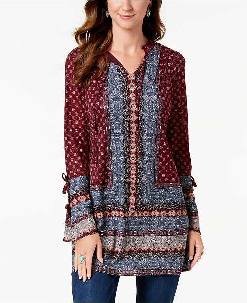 Style & Co Printed Split-Neck Tunic Top, Created for Macy's .
