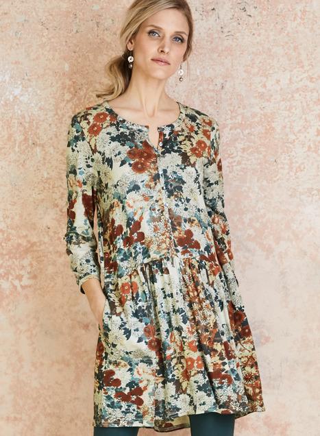 Autumn Meadow Tunic, Luxury Designer Tunic Tops, Luxury Work Top .