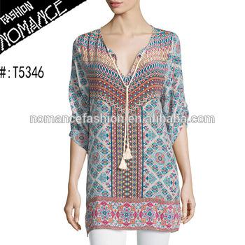 Women Printed Silk Tunic To