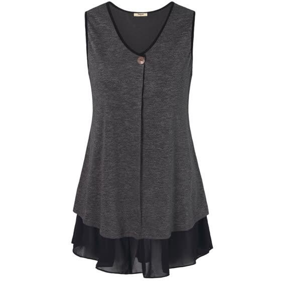 Shop Timeson Summer Style Sleeveless Women Long Tunic Tops V-Neck .