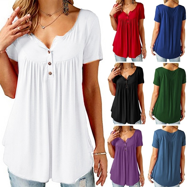Women Short Sleeve Tunic Tops for Leggings , Ladies Summer Button .