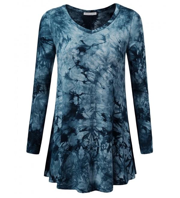 Women's Tunic Tops For Leggings Long Sleeve V-Neck Shirt - Tie Dye .
