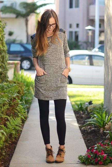 Tunic with leggings but with some edge and glamour - comfy mom .